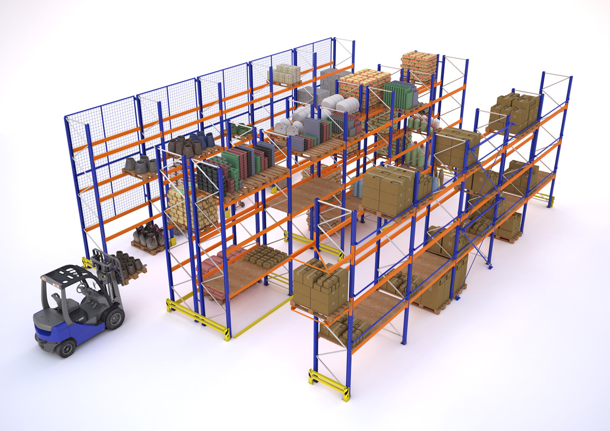Example of warehouse with pallet racks